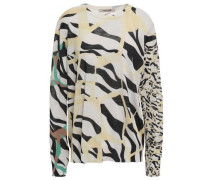 Zebra-print Cotton And Silk-blend Sweater Pastel Yellow