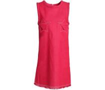 Embroidered frayed denim mini dress