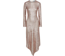 Sequined Mesh Midi Dress Rose Gold