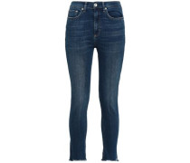 Cropped Frayed Mid-rise Straight-leg Jeans Mid Denim  4