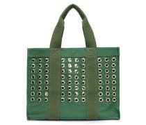 Salma Eyelet-embellished Canvas Tote Emerald Size --