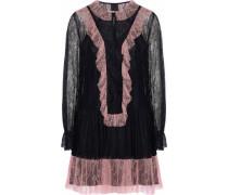 Ruffled two-tone corded lace mini dress