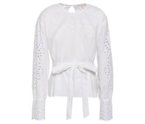Broderie Anglaise Linen And Cotton-blend Blouse White