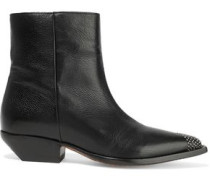Santiago Studded Leather Ankle Boots Black