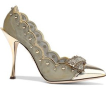 Lori Embellished Mirrored-leather And Mesh Pumps Gold