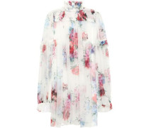 Woman Ruffle-trimmed Floral-print Silk-chiffon Blouse White