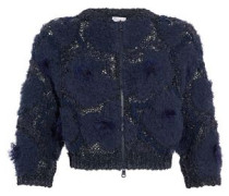 Cropped frayed open and bouclé-knit sweater
