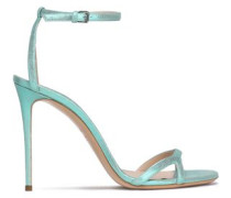 Metallic cracked-leather sandals