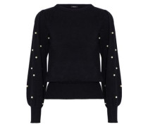 Faux pearl-embellished cotton-blend sweater