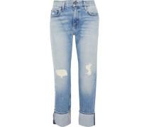 Distressed Mid-rise Boyfriend Jeans Light Denim  4