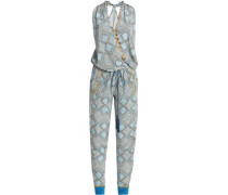 Wrap-effect Embellished Printed Silk Jumpsuit White