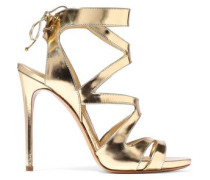 Cutout mirrored-leather sandals