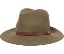 Leather-trimmed Wool-felt Fedora Brown