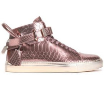 Embellished metallic snake-effect leather high-top sneakers