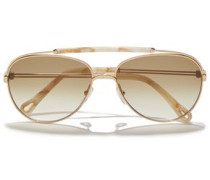 Woman Reece Aviator-style Gold-tone And Marbled Acetate Sunglasses Platinum