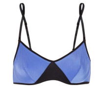 Two-tone Stretch-jersey Underwired Bra Indigo   D