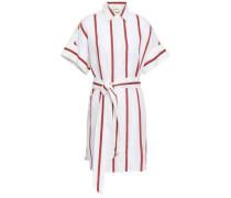 Striped Cotton And Linen-blend Mini Shirt Dress White