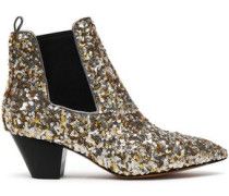 Sequined woven ankle boots