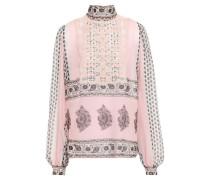 Guipure Lace-paneled Silk-chiffon Blouse Pastel Pink