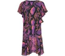Ruffled Snake-print Gauze Mini Dress Violet