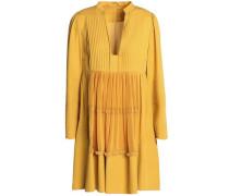 Plissé-paneled Silk Crepe De Chine Mini Dress Marigold