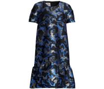 Fluted metallic jacquard mini dress