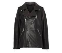Woman Eden Oversized Leather Biker Jacket Black