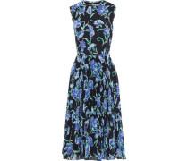 Pleated Floral-print Georgette Dress Black