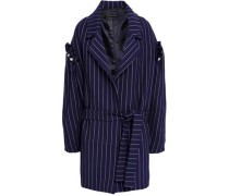 Deon Faux Pearl-embellished Pinstriped Twill Coat Navy