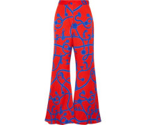 Speed Of Light Printed Silk-blend Flared Pants Red