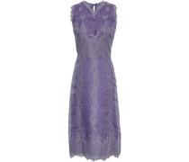 Paneled Silk-organza And Lace Midi Dress Lavender