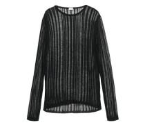 Open-knit Linen And Silk-blend Top Black