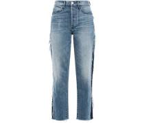 Cora Cropped Frayed High-rise Straight-leg Jeans Light Denim  3