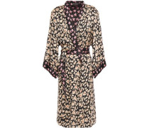 Woman Jolie Floral-print Satin Robe Black
