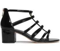 Bow-embellished Patent-leather Sandals Black