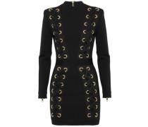 Lace-up Stretch-knit Mini Dress Black