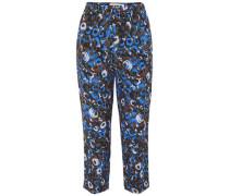Printed Silk-crepe Slim-leg Pants Multicolor