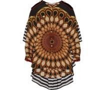 Printed ruffled shirt in multicolored silk-georgette