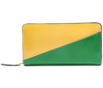 Woman Two-tone Patent-leather Continental Wallet Green