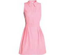 Pleated striped cotton-blend poplin shirt dress