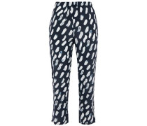 Cropped Printed Silk Crepe De Chine Tapered Pants Midnight Blue