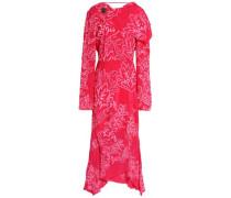 Asymmetric embroidered silk-crepe dress