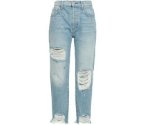 Josefina studded distressed high-rise straight-leg jeans