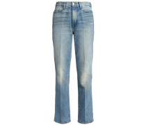 Bleached high-rise straight-leg jeans