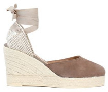 Canvas and suede wedge espadrilles