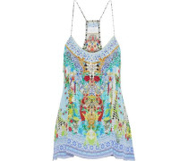Shades Of Rio crystal-embellished printed silk crepe de chine camisole