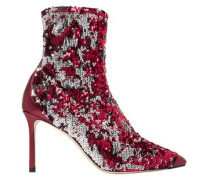 Sequined stretch-knit sock boots