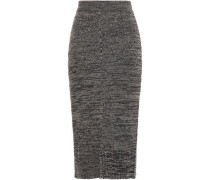 Ribbed Mélange Wool And Cotton-blend Midi Skirt Dark Brown