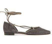 Lace-up leather-trimmed metallic woven point-toe flats