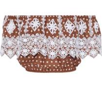 Dakota off-the-shoulder polka-dot broderie anglaise cotton top